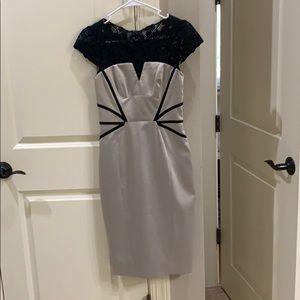 Karen Millen champagne Cap sleeve midi dress